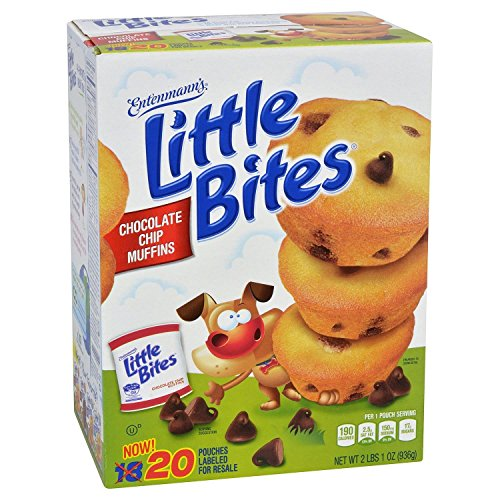 - Entenmann's Little Bites Muffins 20 Pouches/80 Muffins Bonus 1 Individual Entenmann's Apple Pie (Chocolate Chip)