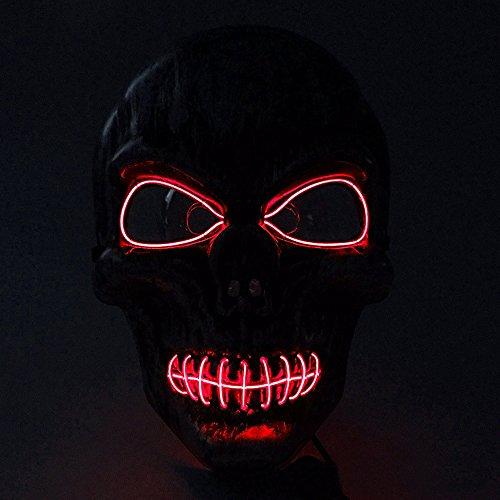 Skull Mardi Gras Scary Mask (Interomgl EI Wire Seal the Mouth Glow Scary Death Rave Mask LED Light Up Skull Ghost Headwear Nightlife Skeleton Masks Kit Creepy Puppet Cosplay Costume Mask for Halloween Festival Parties Masquerade)