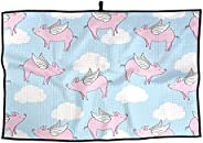 Flying Winged Pigs in Blue Sky Golf Towels Absorbent Microfiber Towels 24 x 15 inch Sports Towel for Travel, W