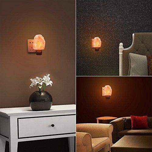 Unilamp Salt Lamp, Himalayan Salt Lamp Night Light with 3 Bulbs,Himalayan Crystal Salt Light Hand Carved Salt Rock Lamp with UL-Approved Wall Plug for Air Purifying, Lighting and Decoration by Unilamp (Image #5)