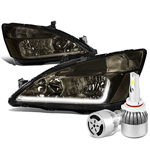 For Honda Accord 7th Gen UC1 Smoked Lens Clear Corner Headlight W/DRL Strip + 9006 LED Conversion Kit W/Fan ()