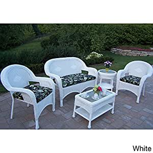 Oakland Living Corporation Premium Cushioned Resin Wicker 5-piece Seating Set White