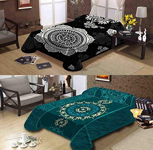 (Ramano Collections Korean Style Mink Blanket 14 Lbs Heavy Queen Size Reversible Raschel Quality Thick Warm Plush Soft Embossed 2 Ply Black Grey & Teal Green 2 Designs in 1)
