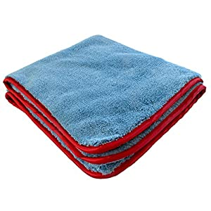 The Big Swig Microfiber Car Drying Towel for Auto Detailers, Plush 1100gsm Weight, Light Blue, 24-inch x 24-inch, by WashWorks USA