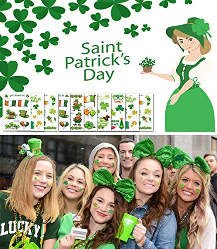 10 Pack St. Patrick's Day Shamrock Tattoos Stickers About 100 Pieces Tattoos with Shamrock Irish Flag Luck to Be Irish Etc ()