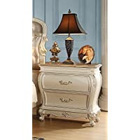 Acme Furniture 23543 Chantelle French Rococo Nightstand with 2 Storage Drawers Granite Top Cabriole Legs and Decorative Accents in Pearl