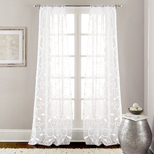 Amrapur 5CRTESRG WHT ST Embroidered Curtains Standard product image