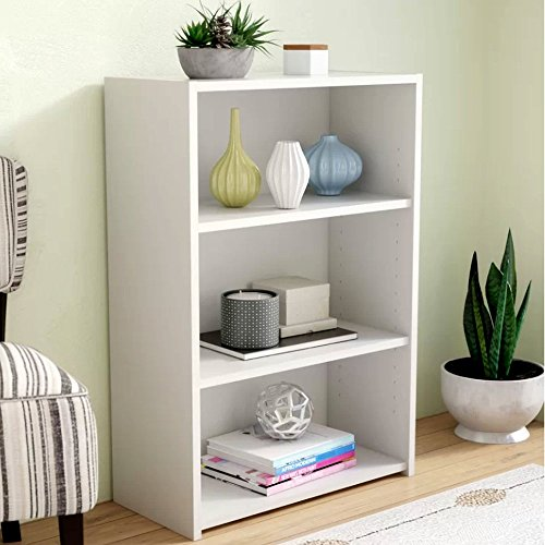 Urban Industrial Bookcase with Shelves, Tall Freestanding Soft White Wooden Large Rustic 3-Tier Bookcase, Casual Organizer Shelf Rack & (Additional Industrial Shelf)