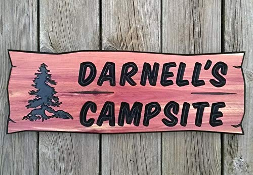 bawansign Wood Plaque Decor Camping Signs Printed Signs Cedar Signs Cabin Sign Personalized Sign Plaques Campsite Sign Outdoor Signs Hand Painted Wall Hanging Wooden Sign ()