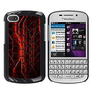 TopCaseStore / la caja del caucho duro de la cubierta de protección de la piel - Abstract Red Hexagon - BlackBerry Q10