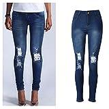 WEUIE Women Pants Clearance Sale! Womens Denim Skinny Jeans Stretch Pencil Trousers Slim Long Pants (L,Blue)