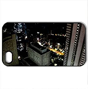 Shinjuku Tokyo - Case Cover for iPhone 4 and 4s (Skyscrapers Series, Watercolor style, Black)