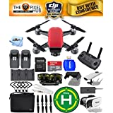 DJI Spark Fly More Combo EXTREME ACCESSORY BUNDLE With Landing Pad, 32GB Micro SD Card Plus Much More (Lava Red)
