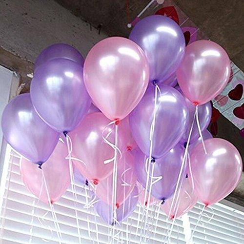 Iygnaw 12inch Pearl Balloons (Pink & Light Purple &White ) Round Latex Balloons Wedding Balloons Birthday Kid Party Float Balloons Toys