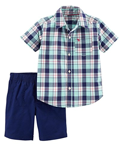 Shorts Canvas Plaid (Carter's Boys' Newborn-5T 2 Piece Plaid Button Front and Canvas Shorts Set 12 Months)