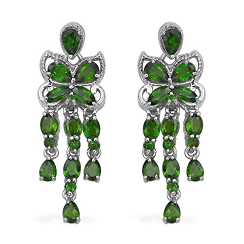 Dangle Drop Earrings 925 Sterling Silver Platinum Plated Chrome Diopside Gift Jewelry for Women Ct 3.7