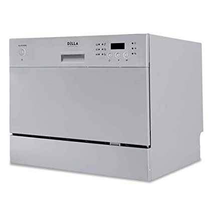 DELLA Compact Mini Dishwasher with 6 Wash Cycles Small Setting Capacity  Plate for Office RV Condo Apartment Kitchen, Silver