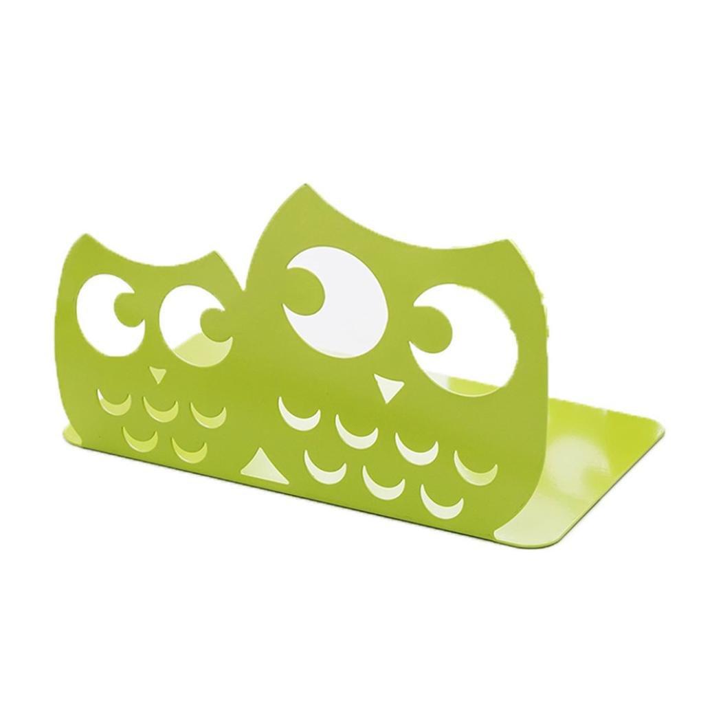 2pc Newest Cute Owl Bookends Racks Nonskid Book Shelf Holder School Office Home Art (Green)