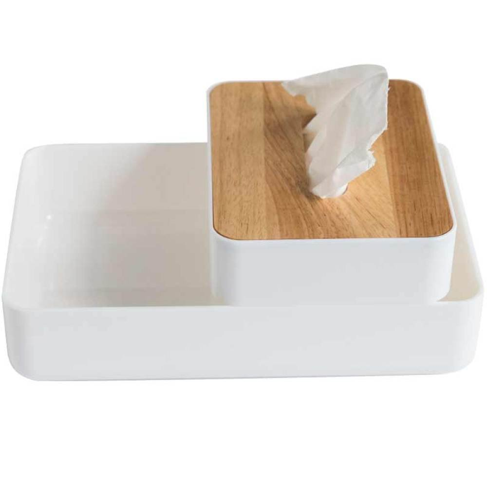 MKKM Creative Multifunctional Cosmetic Storage Box + Small Tissue Box Plastic Bottom with Rubber Wood Cover Tray,Makeup box + small tissue box,Average code