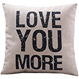 Decorbox Cotton Linen Decorative Pillowcase Throw Pillow Cushion Cover Love You More Square 18""