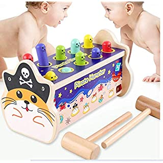 Groundhog Pounding Bench Game Pirate Theme Hammering Pounding Toys Kids Hammer & Pound Toy Pounding Game for Single and Double Kids Early Montessori Educational Tool Gift for Kids Girls Boys Age 2+