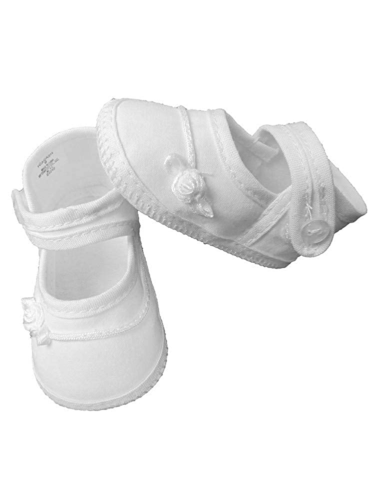 Little Things Mean A Lot Baby Girls White Rosette Ribbon Braid Cotton Christening Shoes 0-4 Baby