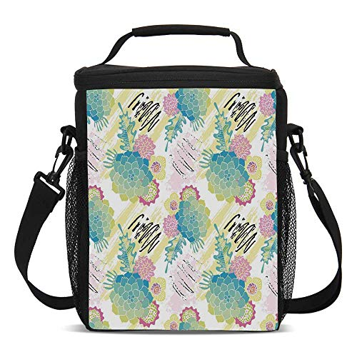 Succulent Beautiful Children's Printed Lunch Bag,Floral Corsage Pattern with Brushstrokes Colorful Flourish Foliage Summer Field Decorative For picnic,One size