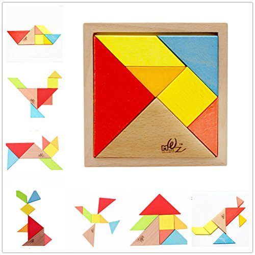 Elloapic 7 Piece Children kids Educational Toy Colorful Wooden Brain Training Geometry Intelligence Tangram Puzzle Jigsaw Puzzle + one small gift