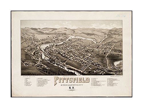 1884 Map Pittsfield Pittsfield, Merrimackcounty sic, N.H: 1884 Pittsfield, Merrimack County, N.H Bird's-eye view.Indexed for points of interest.Merrimack New Hampshire|Ready to - Merrimack The Outlets