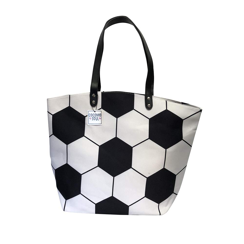 097def923f5 Soccer Canvas Tote Bag Handbag Large Oversize Sports 20 x 17 Inches