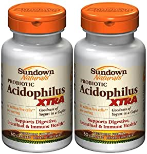 Sundown Naturals Acidophilus, XTRA Probiotic Formula, Caplets 60 Ea (3 Pack) Total 180 Caplets