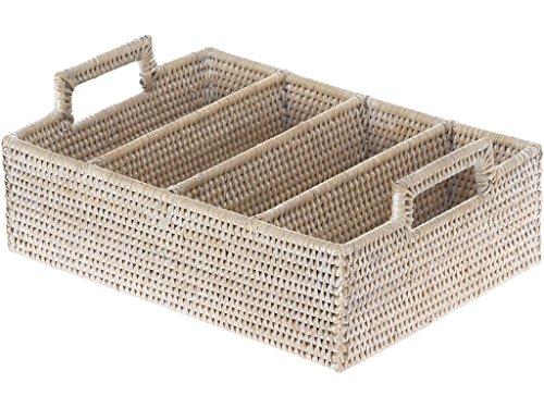- KOUBOO Lo Jolla Rattan Flatware Tray, White Wash