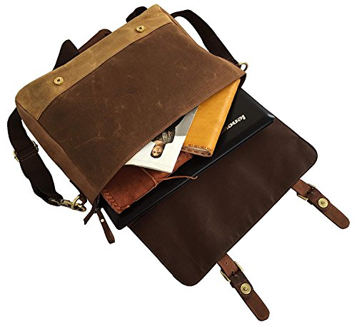 cf8bc676563 Dhk 18 Inch Mens Messenger Bag Vintage Waxed Canvas Genuine Leather Large  Satchel Shoulder Bag Canvas