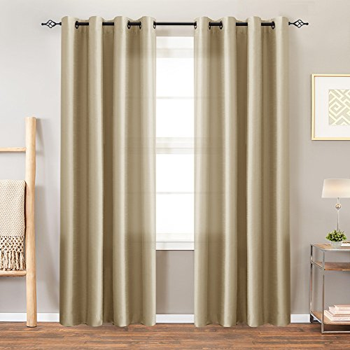 Faux Silk Dupioni Window Curtains for Living Room 95 inches Long Satin Grommet Curtain Panels for Bedroom Light Filtering Privacy Window Treatments, Taupe, 2 Panels Silk Dupioni Window Panel