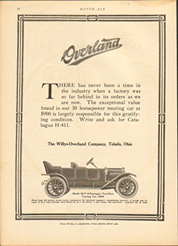 - 1912 Willys Overland Motor Car Toledo OH Auto Ad Klaxon Horn