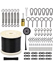 Wayska String Light Hanging Kit, Globe String Light Suspension Kit, 250Ft Stainless Steel Cable Light Guide Wire Rope Included Enough Accessories for Hanging Photo, Clothes and Lights