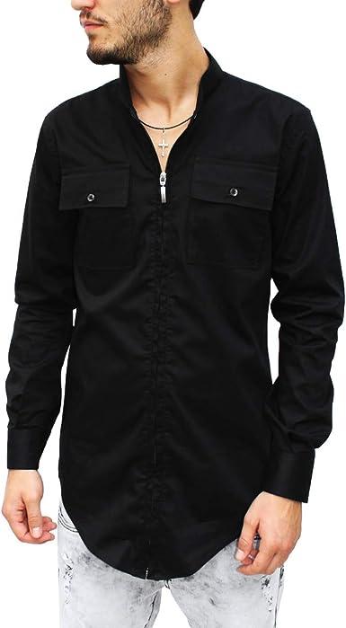 Camisa de Hombre con Cremallera Cuello Coreano algodón Casual ...