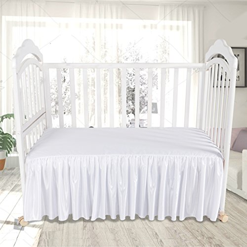 Baby White Crib Skirt CO-AVE Cotton Ruffle Drop Bed Skirt Tulle for Baby Boys and Girls