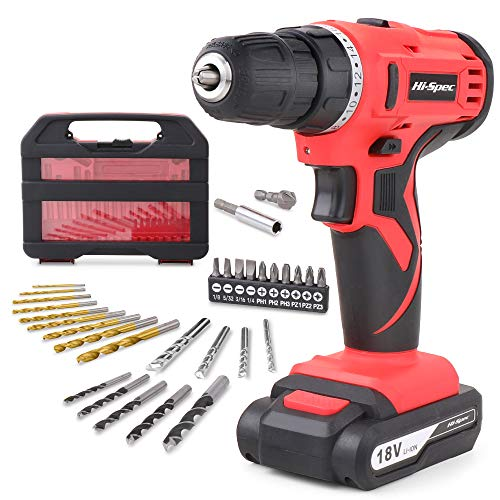 Hi-Spec 31 Piece 18V Cordless Electric Drill Driver with 1500mAh Battery. Rechargeable Power Screw Driving & Drilling in…