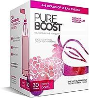 Pureboost Clean Energy Drink Mix. No Sugar. No Sucralose. Healthy Energy Loaded with B12, Antioxidants, 25 Vit