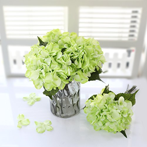 Green Flower Arrangements (Veryhome Hydrangea Artificial Silk Fake Flower Bunch Bouquet Arrangements For Home Wedding Garden Floral Decor Pack Of One(Green))