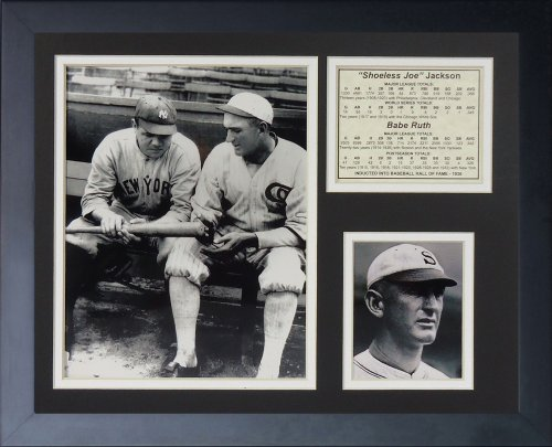 Legends Never Die Shoeless Joe Jackson and Babe Ruth Framed Photo Collage, 11 by 14-Inch (Shoeless Joe Jackson Framed Photo)