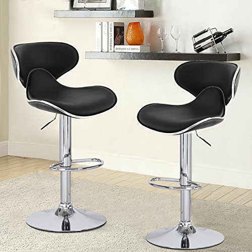 Joveco 360 Degree Swivel Adjustable Saddleback Design Bar Stool Set Of 2 Black Wholesale
