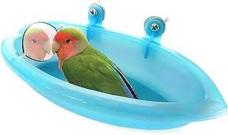 Yissma Bird Bathtub Birdcage Accessory with Bird Mirror Shower Plastic Bathtub for birds, parrots, budgies