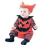 Botrong Newborn Infant Baby Boy Striped Pumpkin Romper + Vest + Hat Halloween Outfits Costume Set Red
