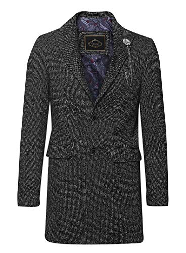 House Of Cavani Mens 3/4 Long Overcoat Jacket Coat Tweed Tailored Fit Peaky Blinders Grey Charcoal 38