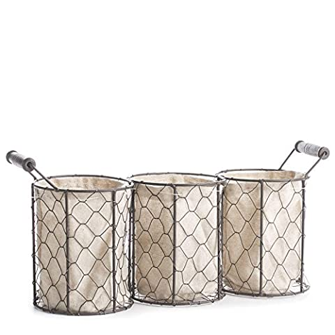 Factory Direct Craft Versatile Brown Chicken Wire Triple Basket With Natural Linen Liner for Home Decor and Organizing