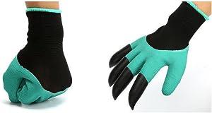 YEJI Digging Planting,Garden Genie Gloves with Claws, Waterproof Work Gardening Gloves