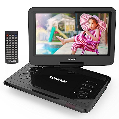 TENKER 12.1 Portable DVD Player with Swivel Screen, Rechargeable Battery with SD Card Slot and USB Port (Black)