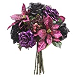 "13"" Glittered Rose, Poinsettia & Skimmia Silk Flower Bouquet -Purple/Black (Pack of 4)"